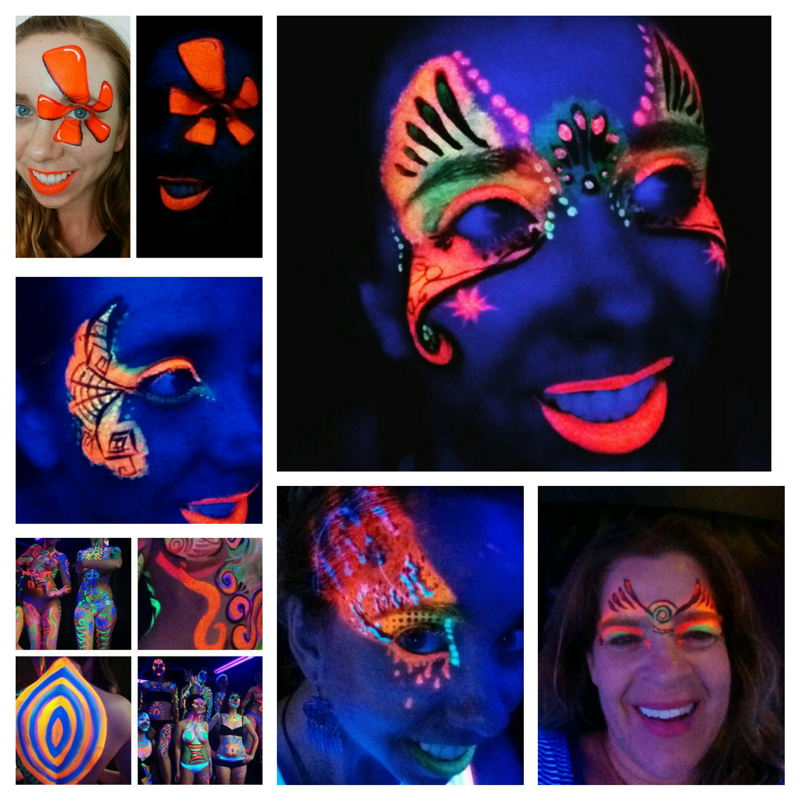 UV face and body paint glows in the black light! It is great for parties at places like Monster Mini Golf! We have also done several Yelp events.