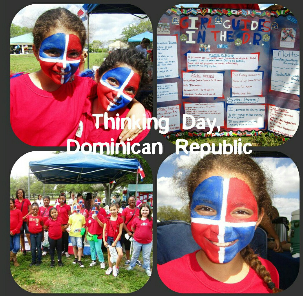 Primordial face painting of Dominican Republic flag at Girl Scout event.