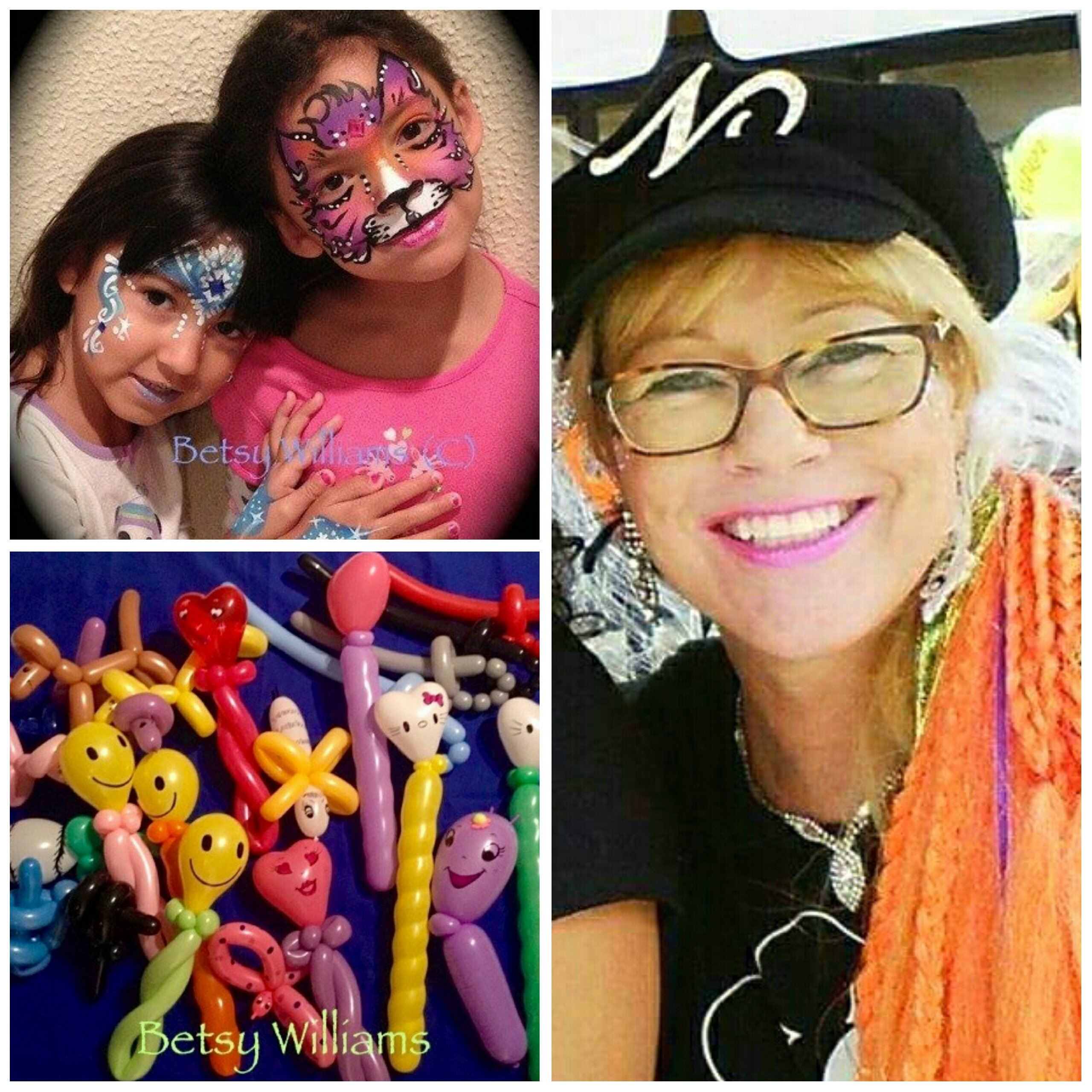 Betsy is an enthusiastic face painter, glitter tattoo artist, and balloon twister.